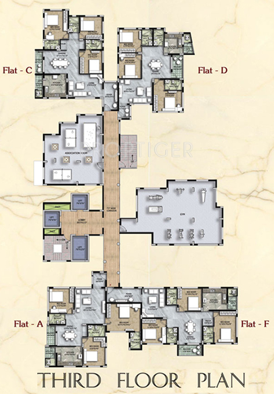 1300 sq ft 2 bhk 2t apartment for sale in rams maris for Apartment floor plans for sale