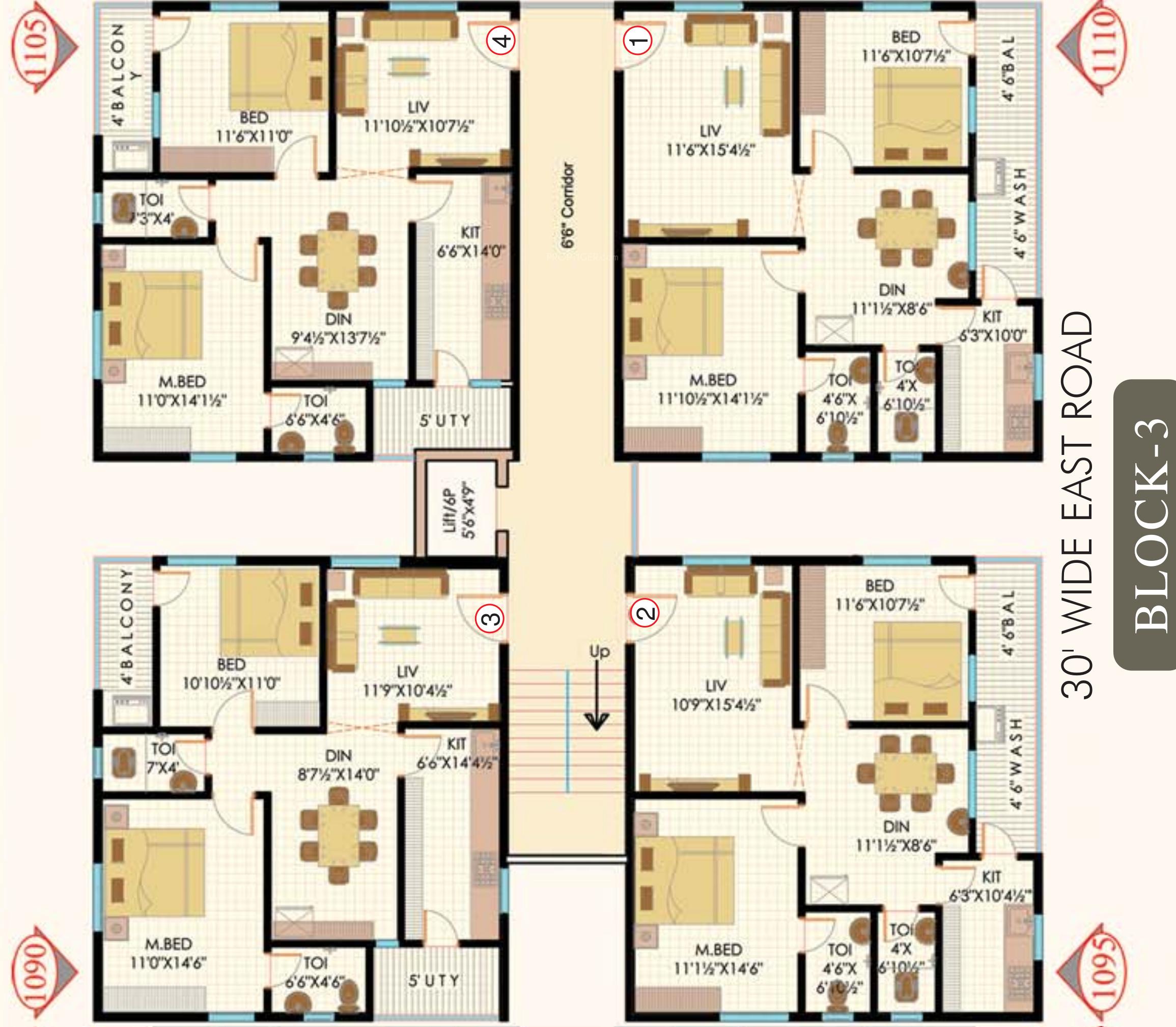1140 sq ft 2 bhk 2t apartment for sale in sukhibhava for Apartment block floor plans