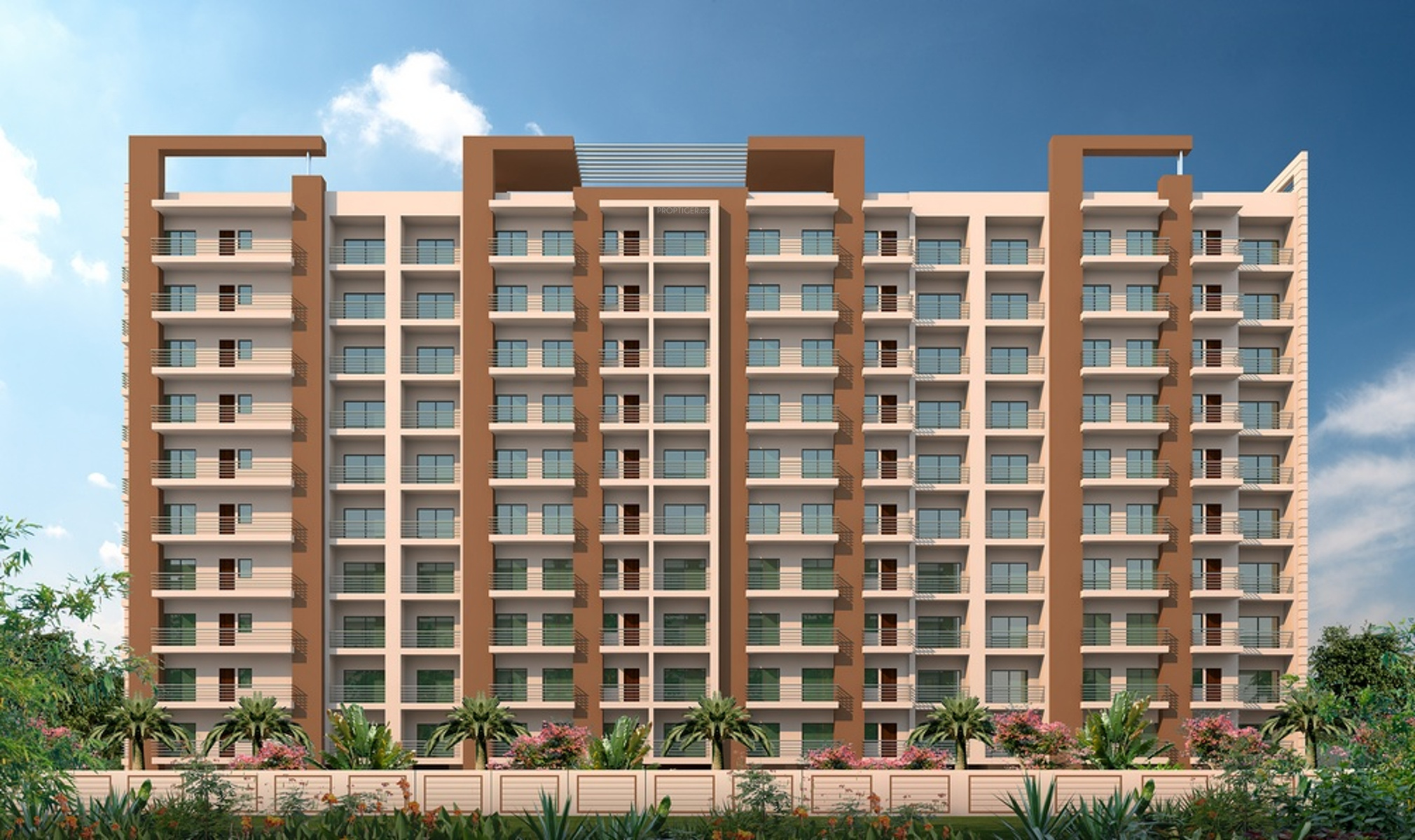 Homefront Tower Elevation : Main elevation image of jeet home triveni tower unit