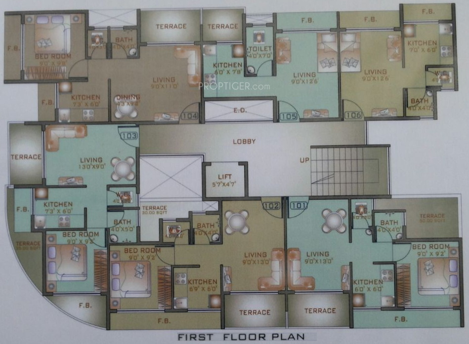 380 sq ft 1 bhk 1t apartment for sale in shubh ashish for 380 square feet floor plan