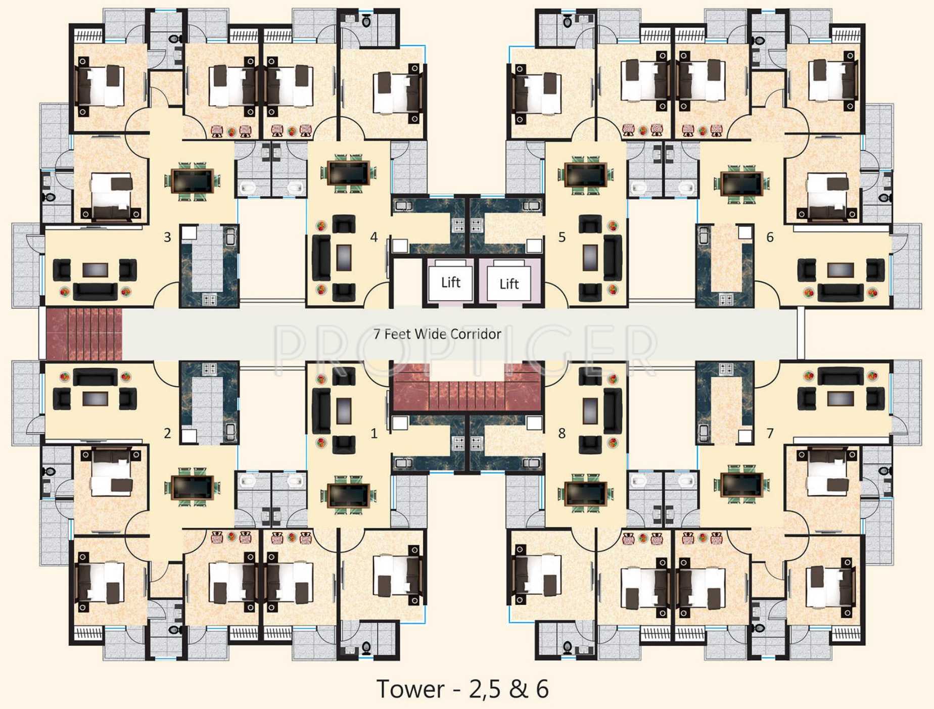 1755 Sq Ft 3 Bhk 3t Apartment For Sale In Agrawal Builders
