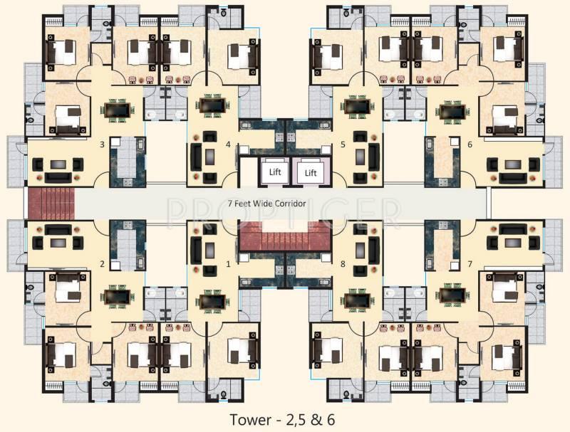 2 3 bhk cluster plan image agrawal builders sagar for Apartment cluster plans