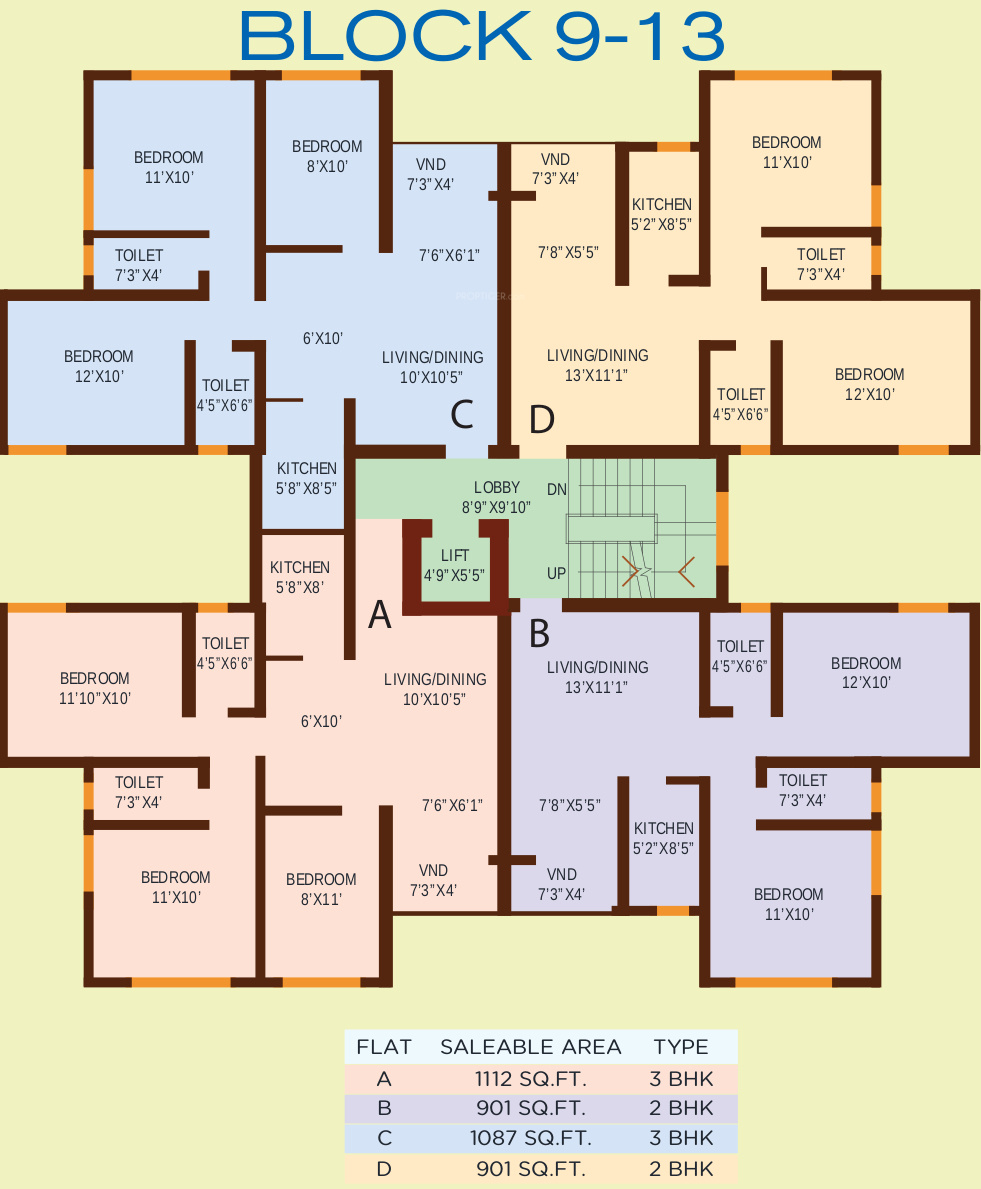 901 sq ft 2 bhk 2t apartment for sale in bloomsbury for Apartment block plans
