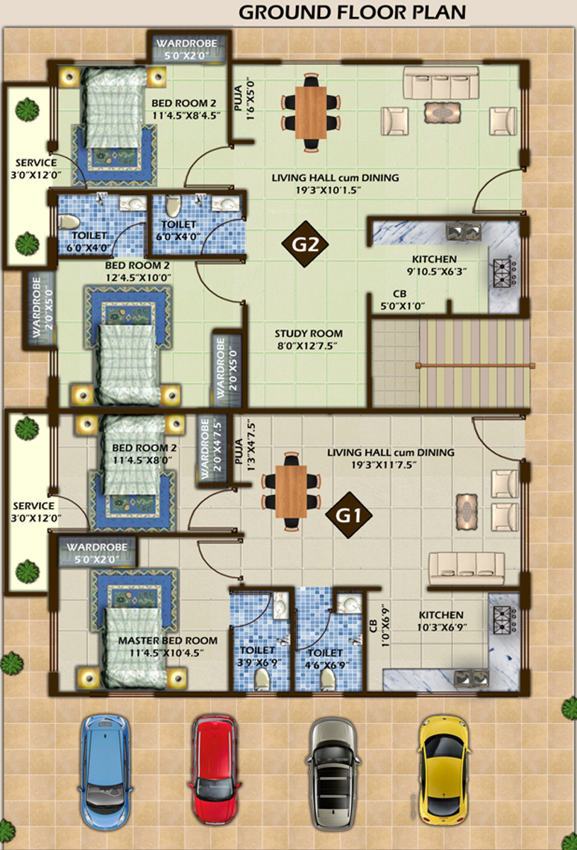 1400 sq ft 3 bhk 3t apartment for sale in himayam for Apartment block plans