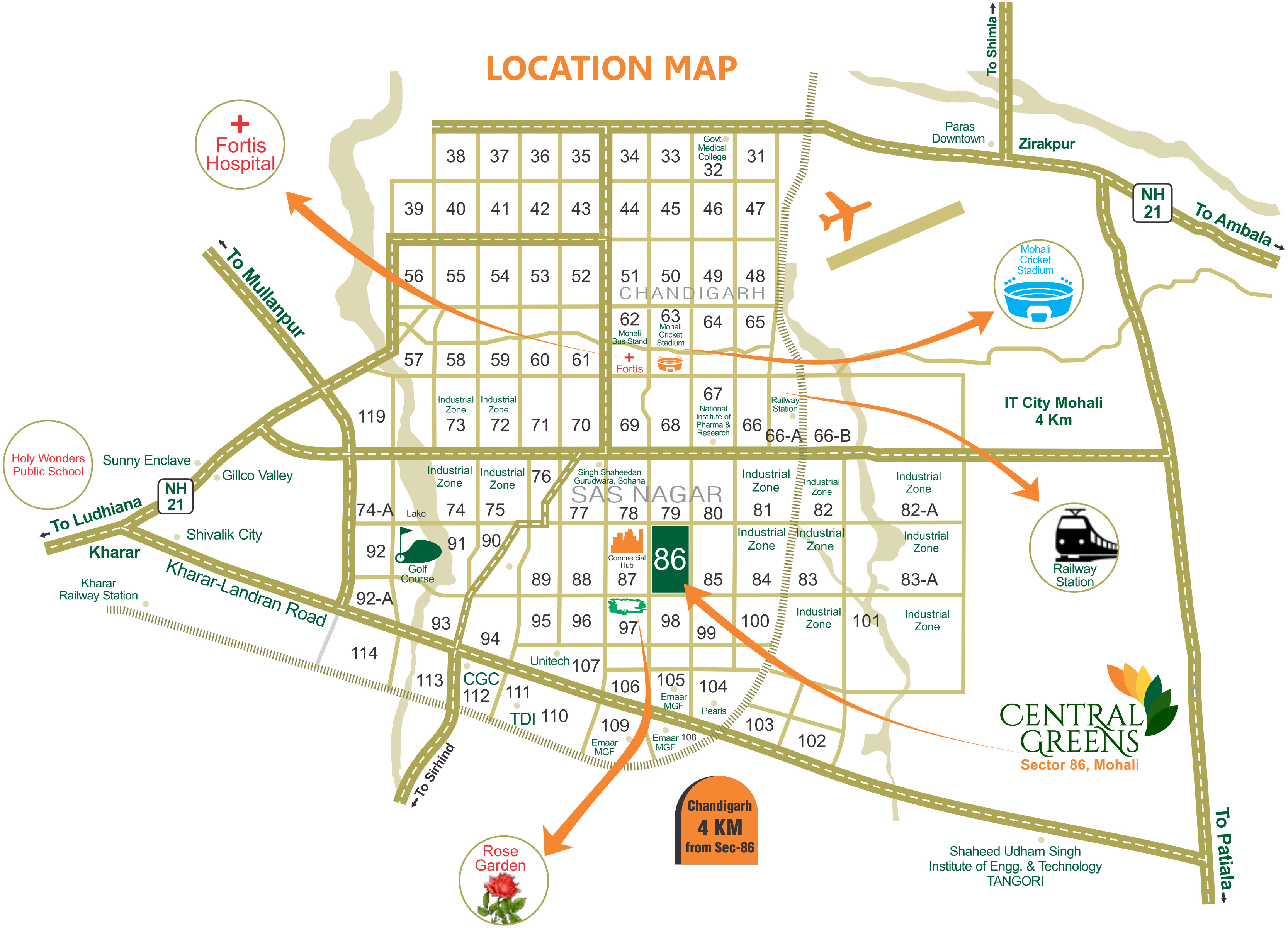Map Of Mohali Vanshi Central Greens in Sector 86, Mohali   Price, Location Map