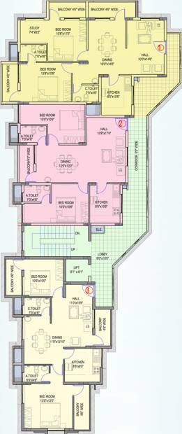 guardian-infrastructure shanthala-aashiyana-c-and-d Block D Cluster Plan from 1st to 6th Floor