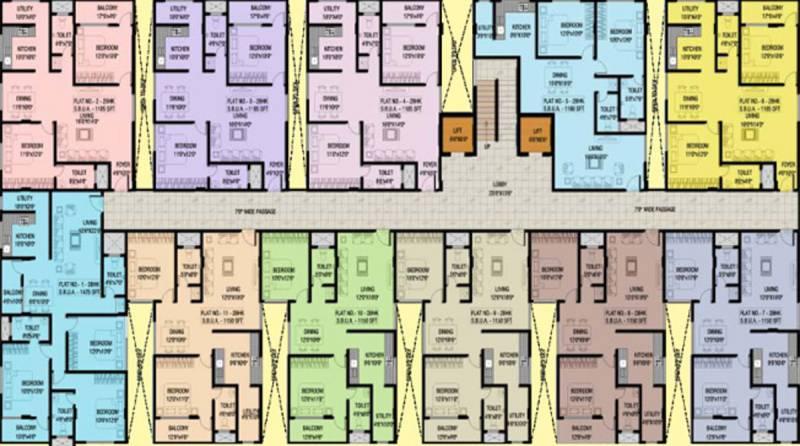 malavika-builders srinivasa-arcade Srinivasa Arcade Cluster Plan from 2nd to 3rd Floor