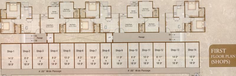 aditya-developers-vadodara pushti-2 Tower A Cluster Plan for 1st Floor
