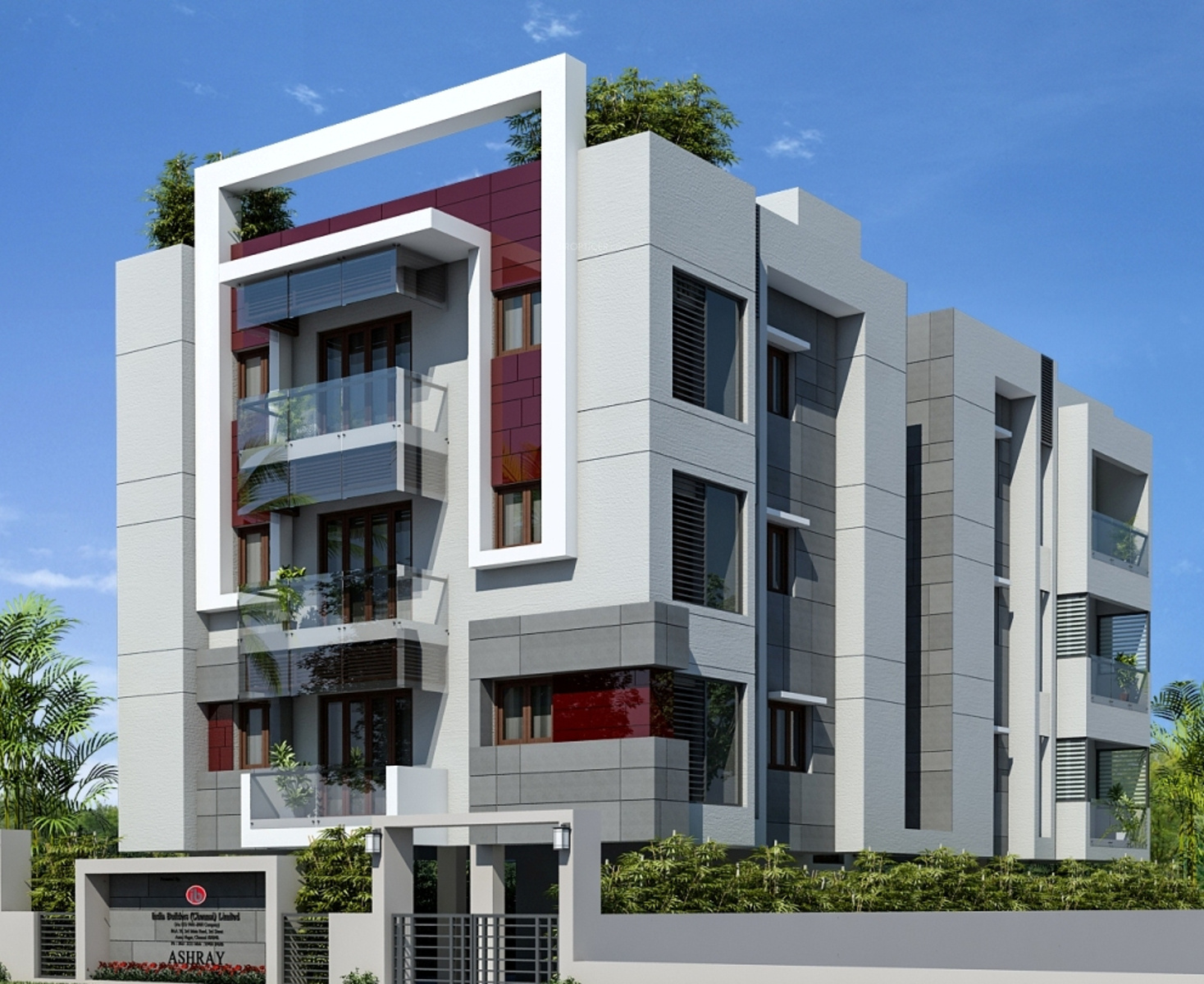 4 Floor Apartment Elevation : Main elevation image of india builders ashraya unit