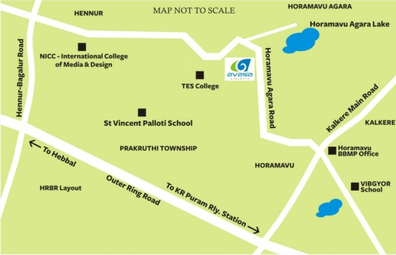 Horamavu Bangalore Map Image of Location Map of Shubham Avasa Homes Horamavu Bangalore