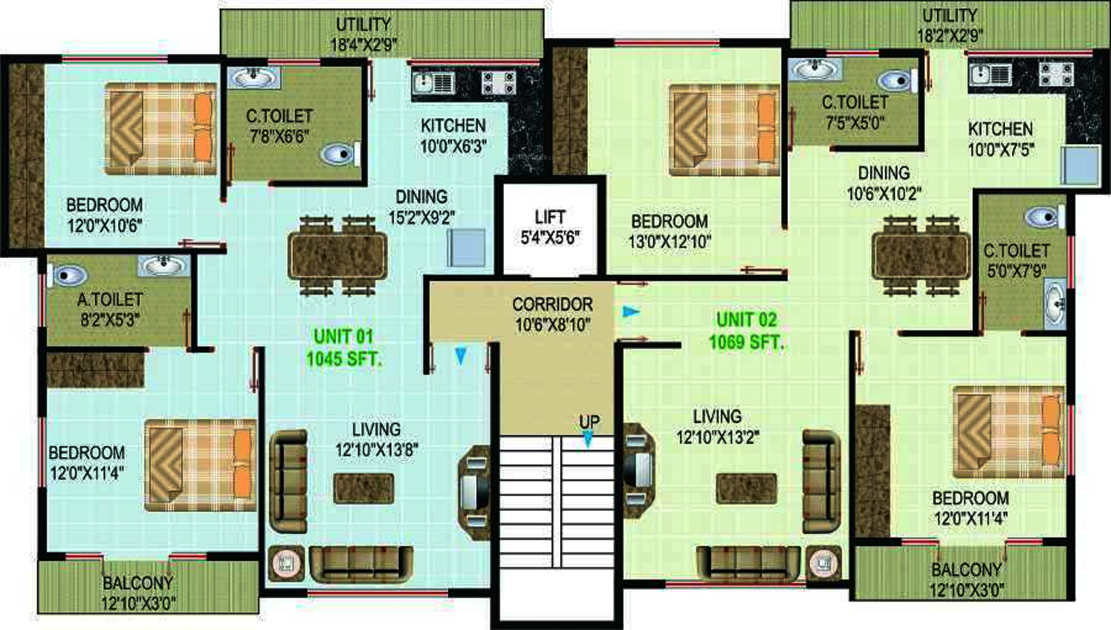 1050 sq ft 2 bhk 2t apartment for sale in aikya homes for Cluster house plans
