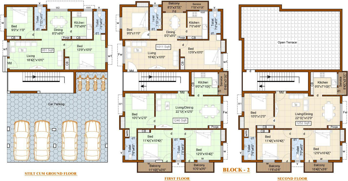 985 sq ft 2 bhk 2t apartment for sale in priya sun shine for Apartment block plans