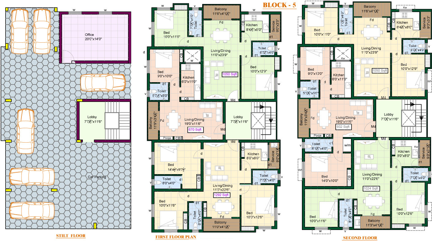1011 sq ft 2 bhk 2t apartment for sale in priya sun shine for Apartment block plans