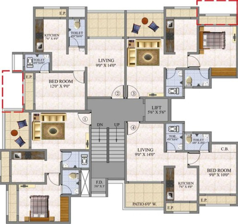 675 sq ft 1 bhk 2t apartment for sale in jh zojwalla for 675 sq ft floor plan