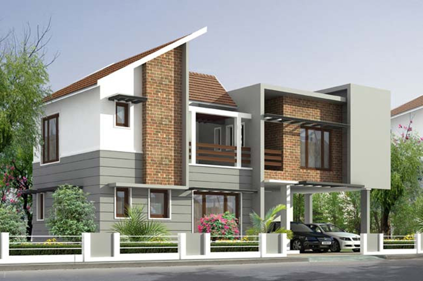 kallat builders pool villas elevation 753641 - 10+ Small House Compound Design  Images