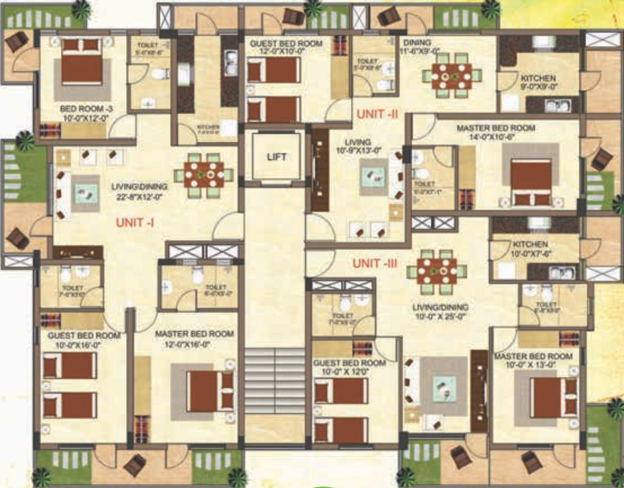 2850 sq ft 4 bhk 4t apartment for sale in dimensions for Apartment plans for sale