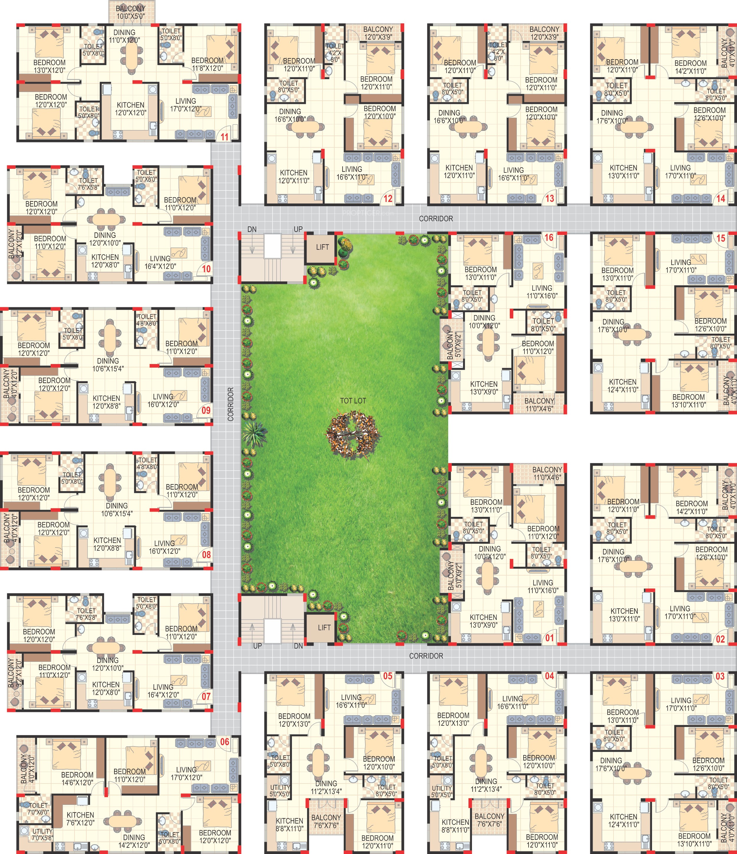 1620 sq ft 3 bhk 3t apartment for sale in sai charita for Apartment cluster plans
