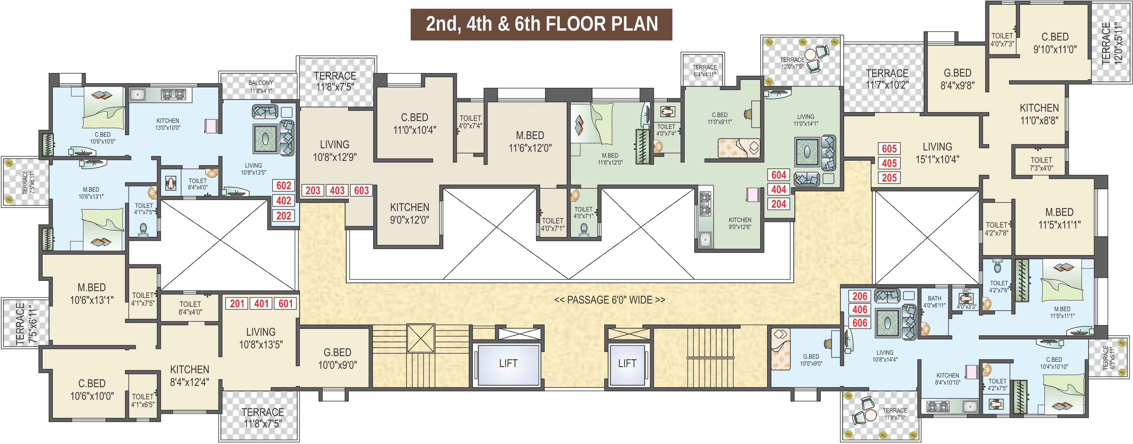 718 sq ft 3 bhk 3t apartment for sale in gt developers for Gt issa floor plans