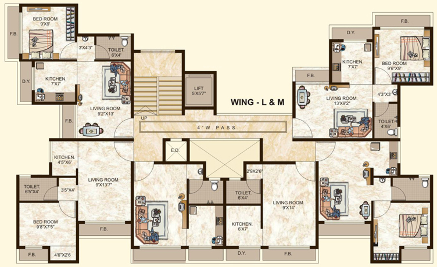 450 sq ft 1 bhk 1t apartment for sale in tulsi estates for 450 sq ft floor plan