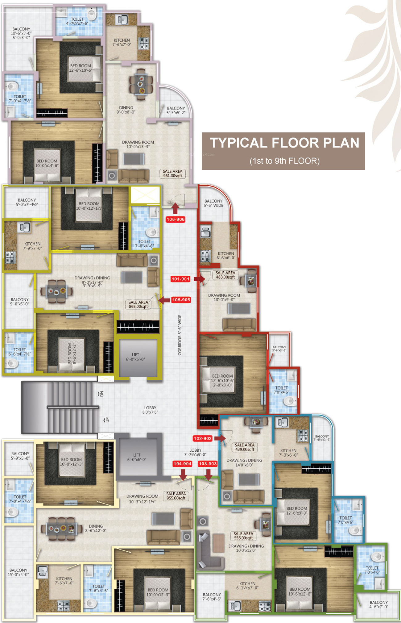 439 sq ft 1 bhk 1t apartment for sale in pearl spytech for Windsor homes floor plans