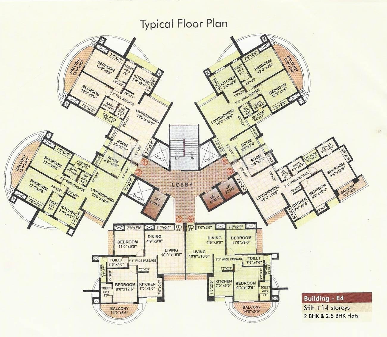Tower plans rutu towers in thane west mumbai price for Trademark quality homes floor plans