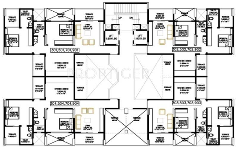 1221 sq ft 2 bhk 2t apartment for sale in bu bhandari for Apartment plans bu