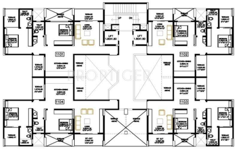 1221 sq ft 2 bhk 2t apartment for sale in bu bhandari for Apartment meal plans bu