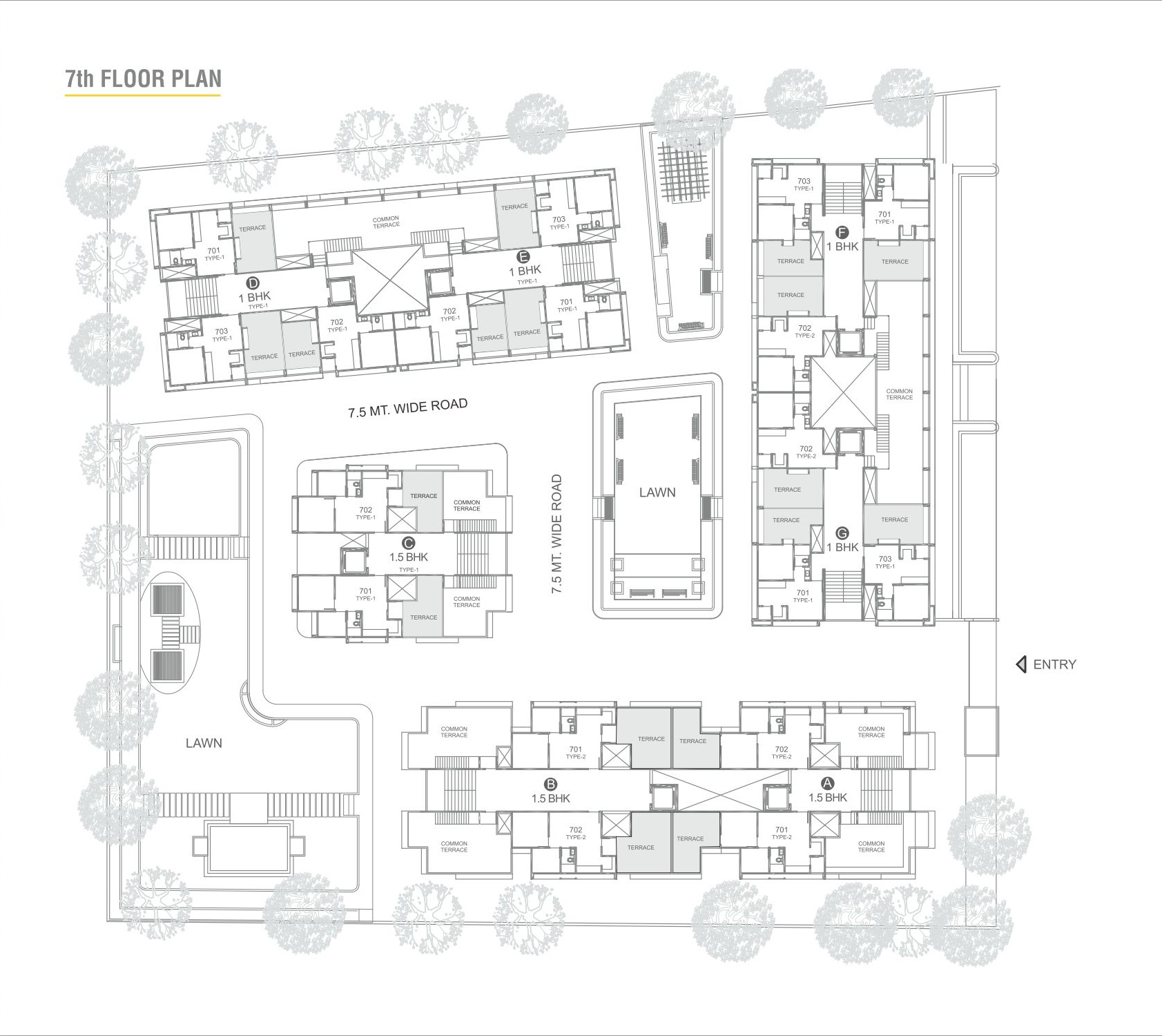720 Sq Ft Apartment Floor Plan Of 720 Sq Ft 1 Bhk 1t Apartment For Sale In Sun Builders