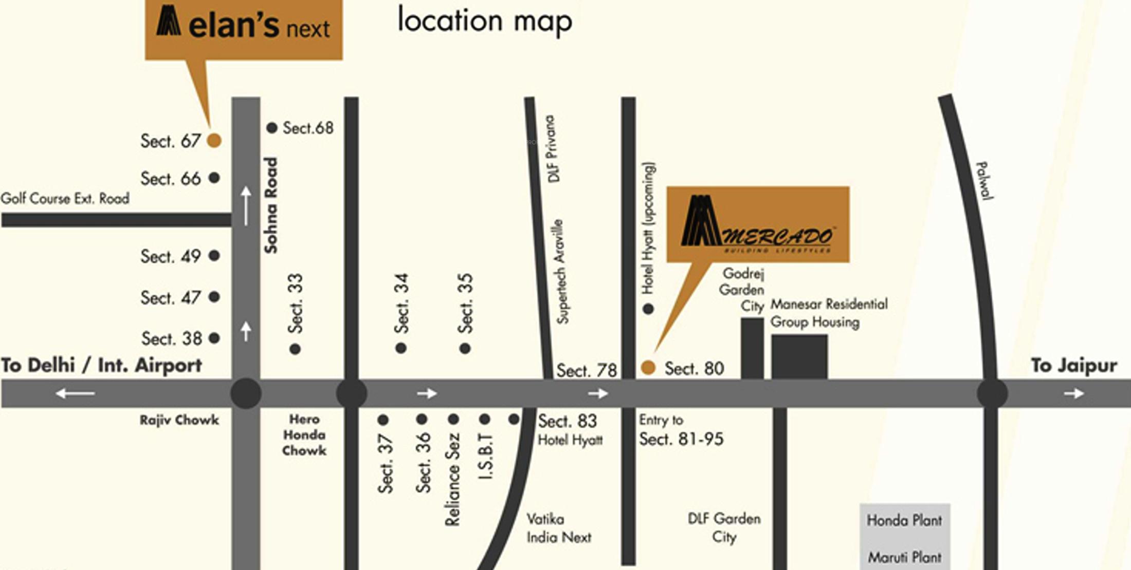 Elan Next In Sector 67 Gurgaon Price Location Map