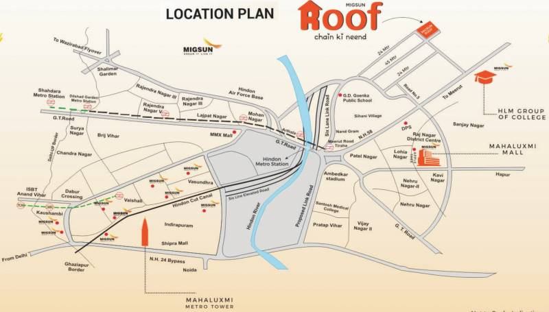 Image Of Location Map Of Migsun Group Migsun Roof Raj Nagar - Ghaziabad map