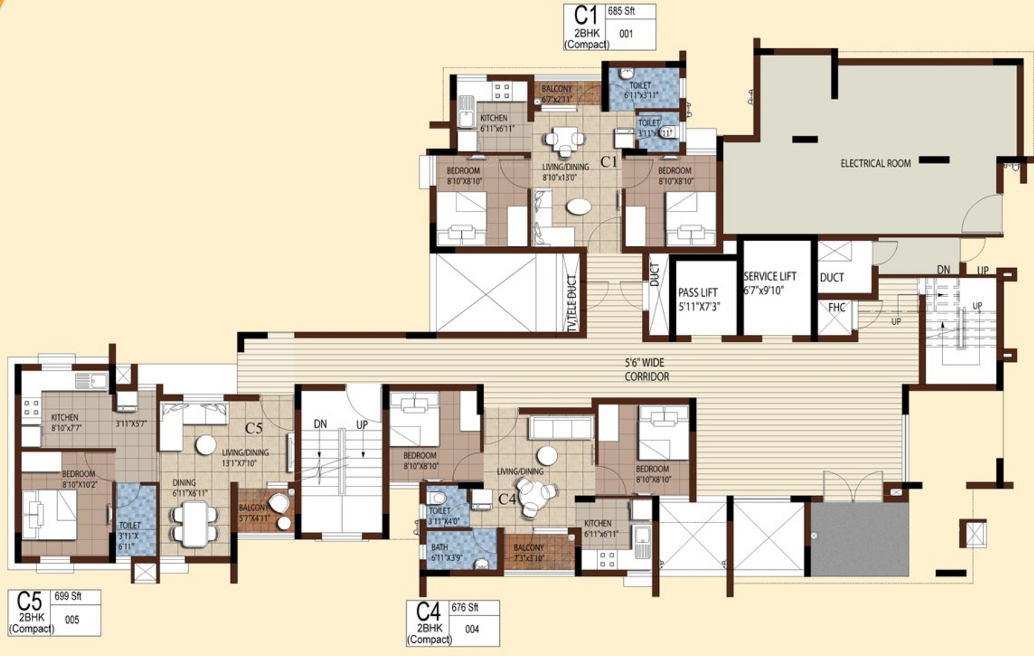 Compact Homes 699 Sq Ft 2 Bhk 1T Apartment For Sale In Akshaya Homes Tango