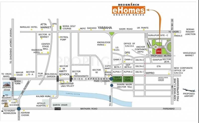 Image of Location Map of Dasnac Designarch e Homes UPSIDC Surajpur ...