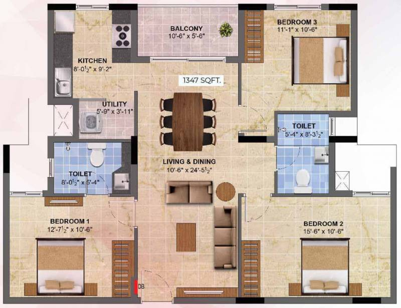 Radiance Sapphire (3BHK+2T (1,347 sq ft) 1347 sq ft)