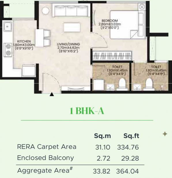 Mahindra Happinest Kalyan Project A (1BHK+1T (334.76 sq ft) 334.76 sq ft)