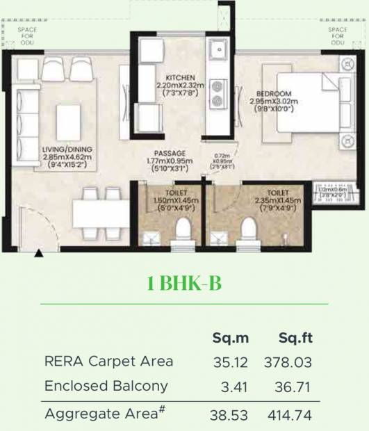 Mahindra Happinest Kalyan Project A (1BHK+1T (378.03 sq ft) 378.03 sq ft)