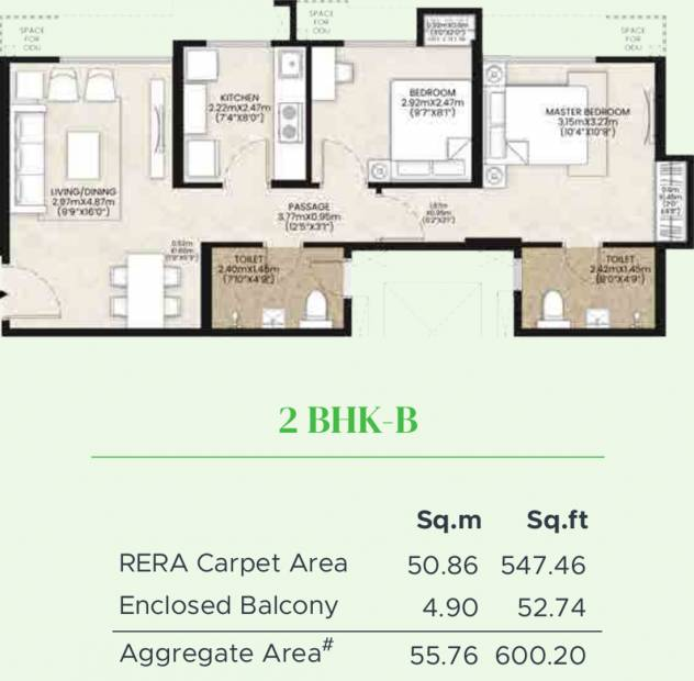 Mahindra Happinest Kalyan Project A (2BHK+2T (547.46 sq ft) 547.46 sq ft)