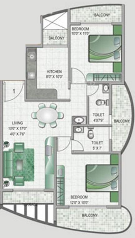 Keystone lifespaces monarch residency in kharghar mumbai for 1125 sq ft floor plan