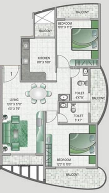 Keystone Monarch Residency (2BHK+2T (1,125 sq ft) 1125 sq ft)