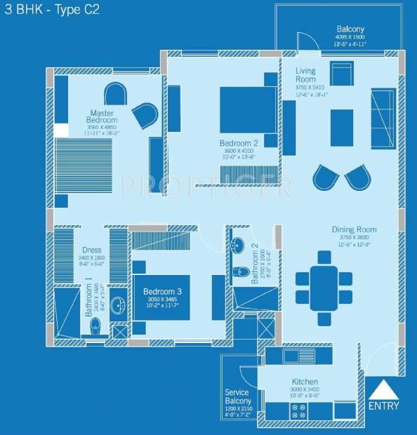 Lifestyle Homes Floor Plans | 1750 Sq Ft 3 Bhk Floor Plan Image Vatika Group Lifestyle Homes
