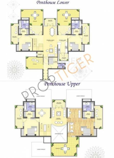 K World Royal Court Floor Plan (4BHK+5T + Servant Room)