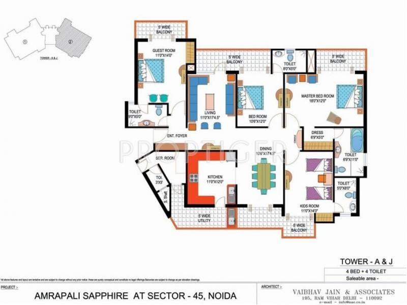 Amrapali Sapphire (4BHK+4T (2,465 sq ft) + Servant Room 2465 sq ft)