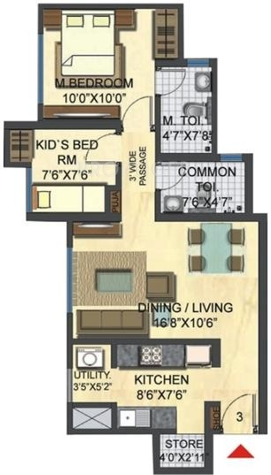 2 bhk 2t apartment for sale in lodha group casa bella gold for Casa bella floor plan