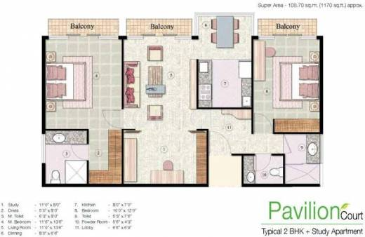 Jaypee greens the pavilion court in sector 128 noida for 12 by 12 room sq ft