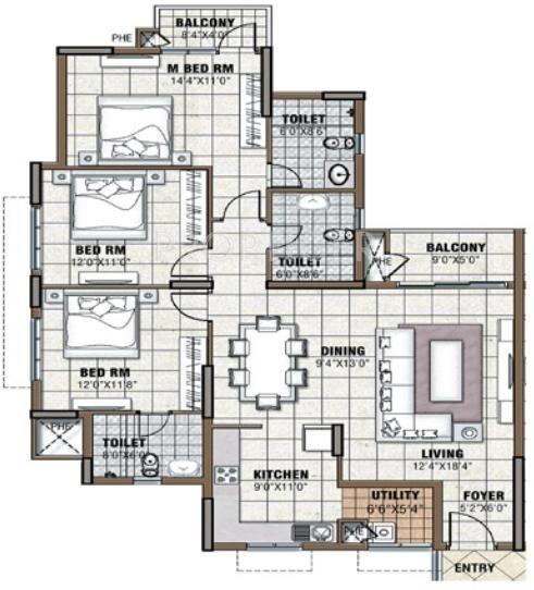 Prestige Tranquility (3BHK+3T (1,632 sq ft) 1632 sq ft)