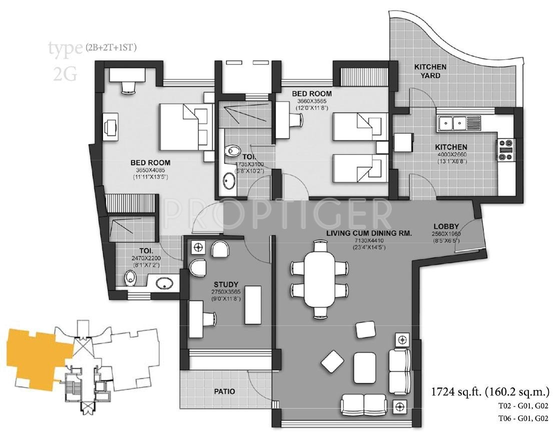 1724 sq ft 2 bhk 2t apartment for sale in unitech harmony for 12 by 12 room sq ft
