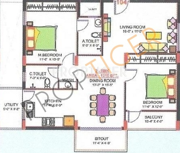 1315 sq ft 2 bhk 2t apartment for sale in aesthetic for Cox plans