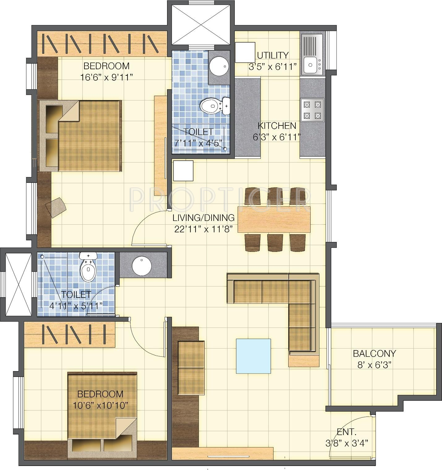 950 Sq Ft 2 Bhk 2t Apartment For Sale In Brigade Basil At
