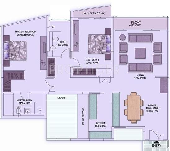 Shrachi Rosedale Garden (2BHK+2T (1,718 sq ft) 1718 sq ft)