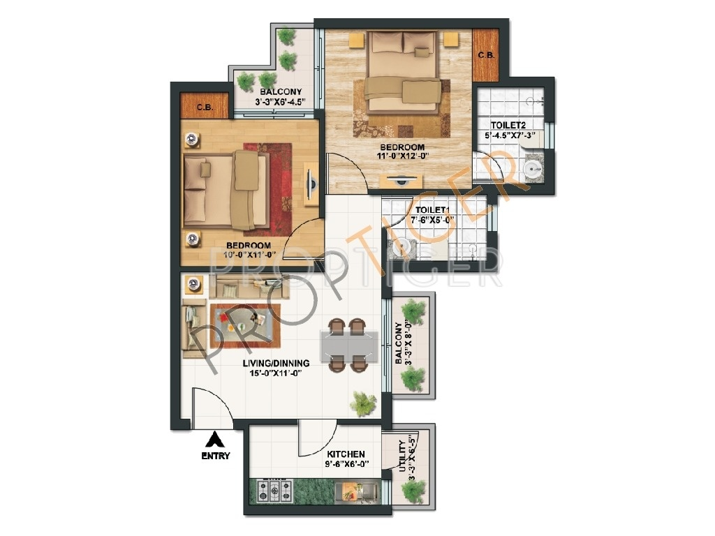825 sq ft 2 bhk 2t apartment for sale in paras tierea for Apartment floor plans for sale