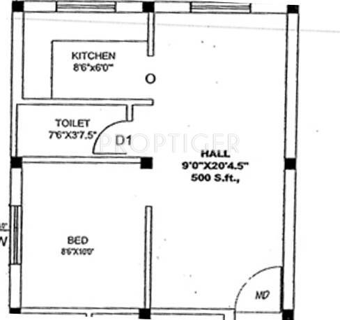 500 sq ft 1 bhk floor plan image arrr maduvinkarai available for sale - 500 sq ft apartment floor plan ...